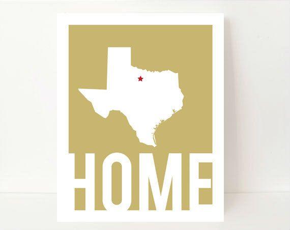 Texas State Art Silhouette Print Home State Art 8x10 Home typography Khaki Home Wall Art. $17.99, via Etsy.