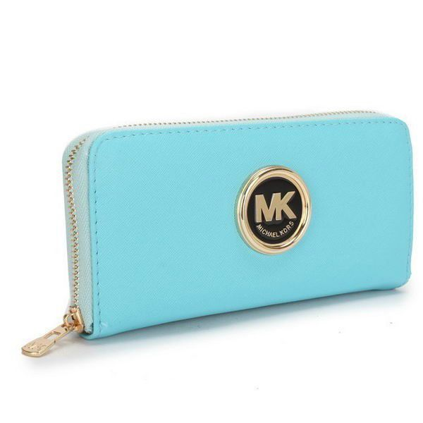 #MKTimeless Love! Michael Kors Saffiano Continental Large Blue Wallets cheap for everyone!