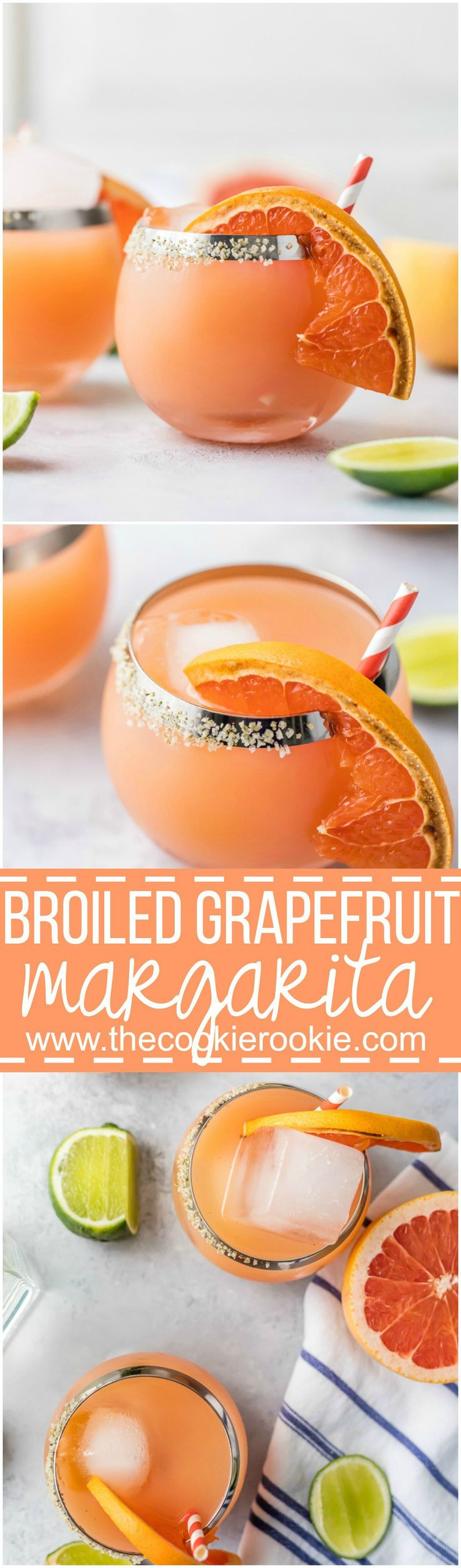 Cheers to Summer with a BROILED GRAPEFRUIT MARGARITA! The perfect combination of flavors for a great tangy sweet refreshing margarita perfect for any Summer day!