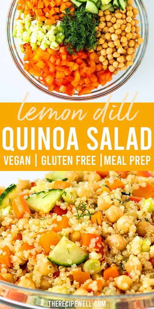 This quinoa chickpea salad is like summer in a bowl and comes together in less t…