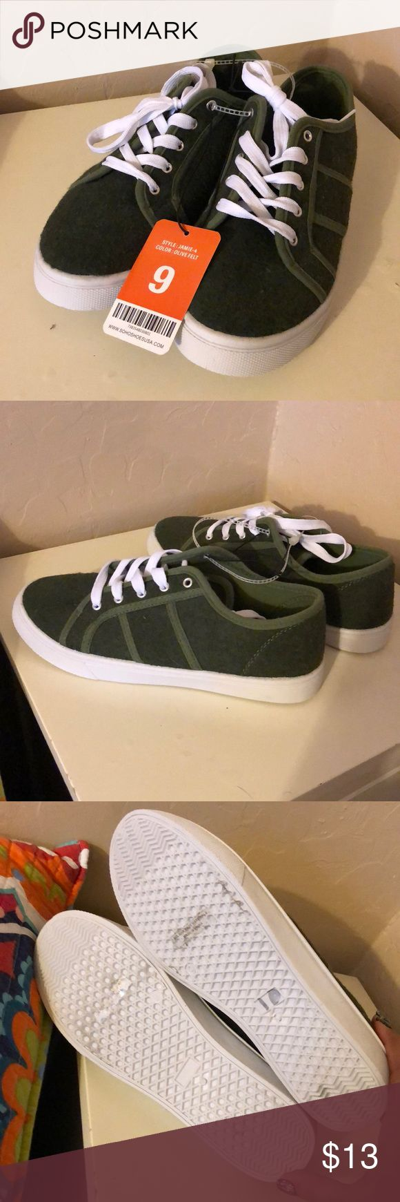 Felt tennis shoes Olive Green Felt Tennis Shoes by Soho.  New with tags size 9 tried on but never worn outside. Excellent condition!! Soho Shoes Sneakers
