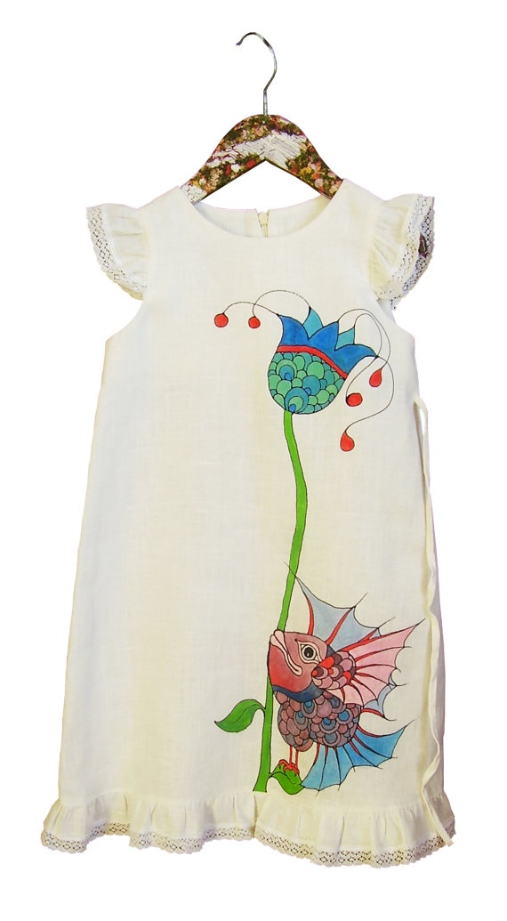 Girls dress in white color linen  painted dress  by InGAartWork, $52.00
