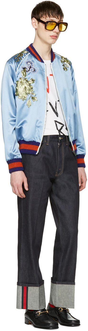 Gucci - ブルー エンブロイダ シルク ボンバー ジャケット