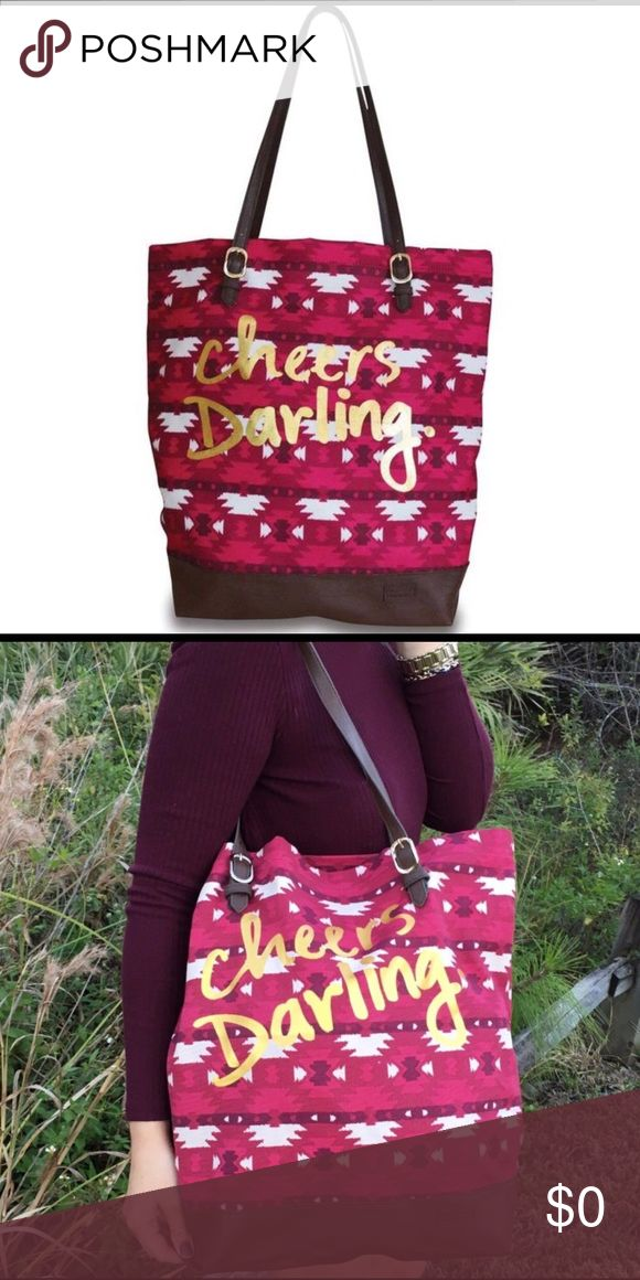 "Aztec shoulder bag These adorable Aztec print canvas tote bags with ""Cheers Darling"" embossed in gold on the front.  Adjustable shoulder strap, plenty of room inside for everything and on point for the trends.  Measures 17"" x 4.75"" x 16"". Bags Shoulder Bags"