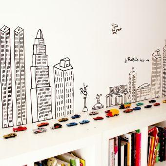 #kids #playroom • #boy #playroom • cars & cityscape wall décor