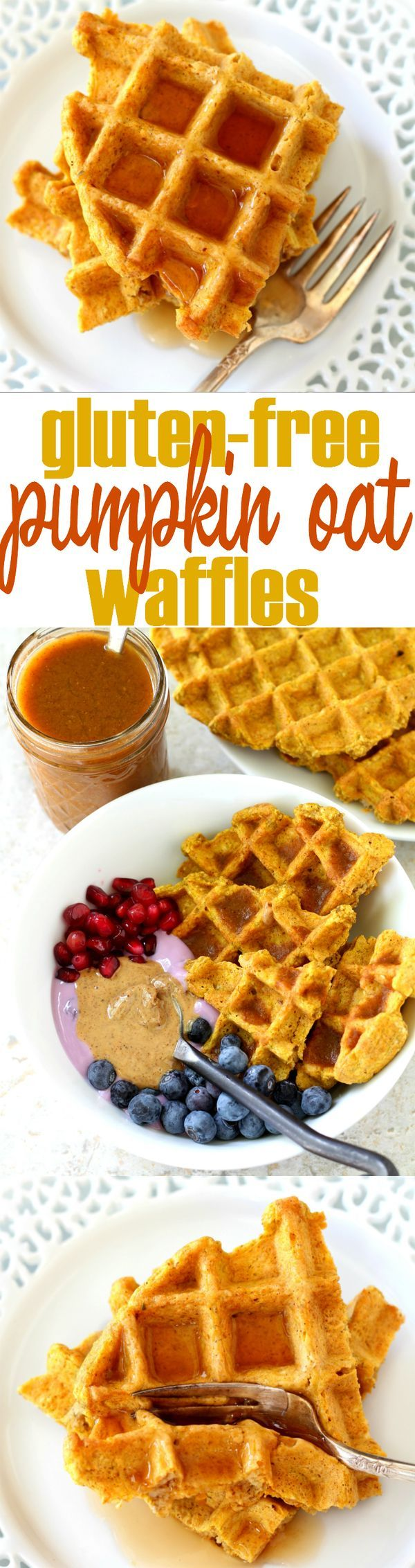Gluten-Free Pumpkin Oat Waffles – loaded with delightful fall flavor without any of the guilt. Whip them up in the blender to get your morning started easily and deliciously!