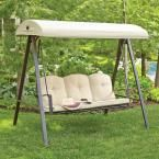 Hampton Bay Cunningham 3-Person Metal Outdoor Swing with Canopy