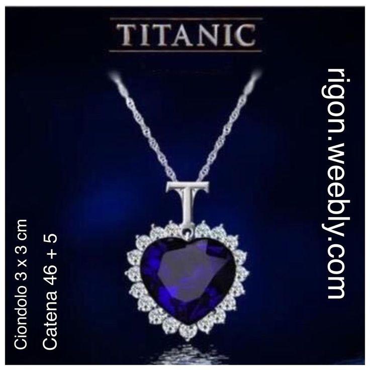 COLLANA TITANIC HEART OF OCEAN DIAMANTE BLU CUORE