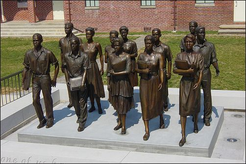 | Bronze Sculpture Commission of the Clinton 12 for Green McAdoo Cultural Center in Clinton Tennesee Before the Little Rock 9 there was The Clinton 12.  On August 28, 1956, twelve Black American students walked into the formerly all-white high school in Clinton, Tennessee. Riots rocked the town. The governor sent in the National Guard, but he sent the troops to protect the students and keep the school open.