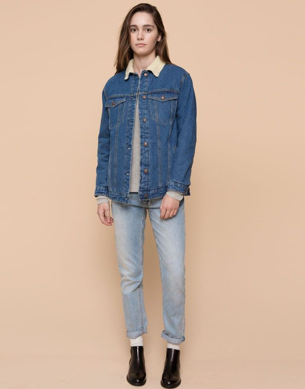 Pull&Bear - femme - blousons et vestes - blouson en jean col mouton - bleu - 05713309-I2015