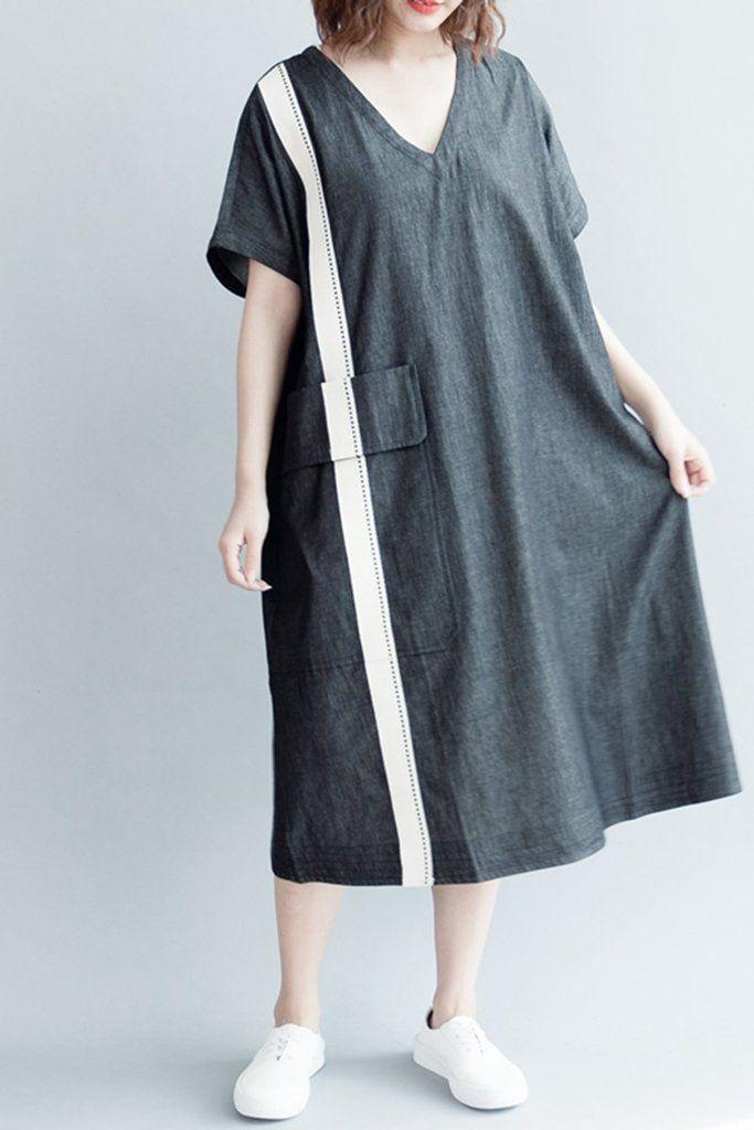 e2ec7af1a6 Women Summer Plus Size V Neck Black Cotton Dress Q3047 in 2018 ...