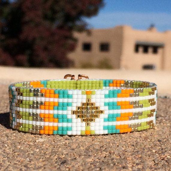 Los Lunas grano telar brazalete pulsera nativo por PuebloAndCo