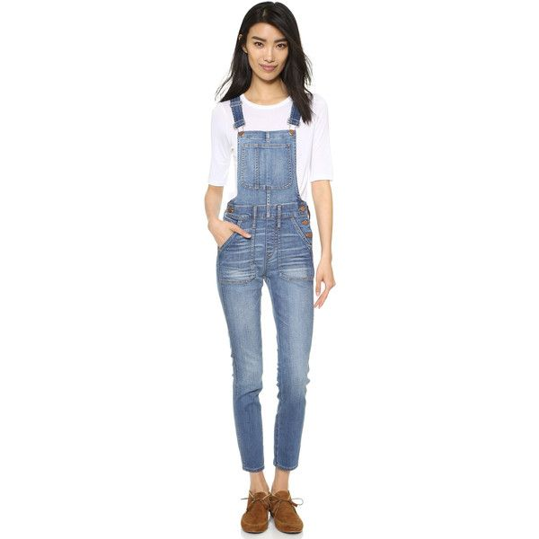 Madewell Skinny Overalls ($150) ❤ liked on Polyvore featuring jumpsuits, camilla wash, madewell overalls, skinny jumpsuit, madewell, blue overalls and overalls jumpsuit