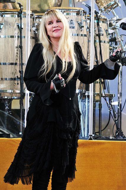 """Stevie Nicks- playing her ever so famous """"air guitar"""" out at a taping of """"Good Morning America"""" in NY"""