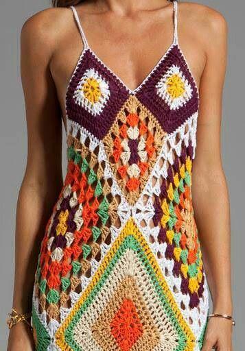 Crochet, granny squares, crocheted dress, bohemian