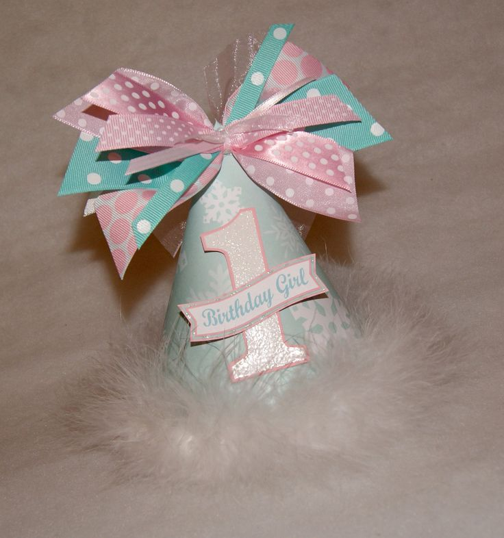 Aqua and Pink Winter Onederland Snowflake Party Hat. $13.50, via Etsy.