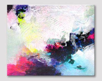 Pintura original de pequeño resumen, coloridas ilustraciones con textura, pintura de acrílico, arte moderno en lona estirada, rosa colores azul marino, negrita