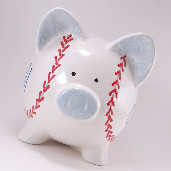 Baseball Piggy Bank  Personalized Piggy Bank  by ThePigPen on Etsy