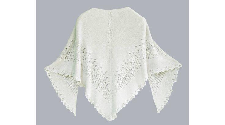 Fehér horgolt vállkendő DROPS BabyAlpaca Silk fonalból - Ajándék ötletek nőknek