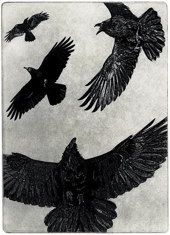 THE DANCE  Raven crow bird Series   5 x 7 inches by larryvienneau, $35.00