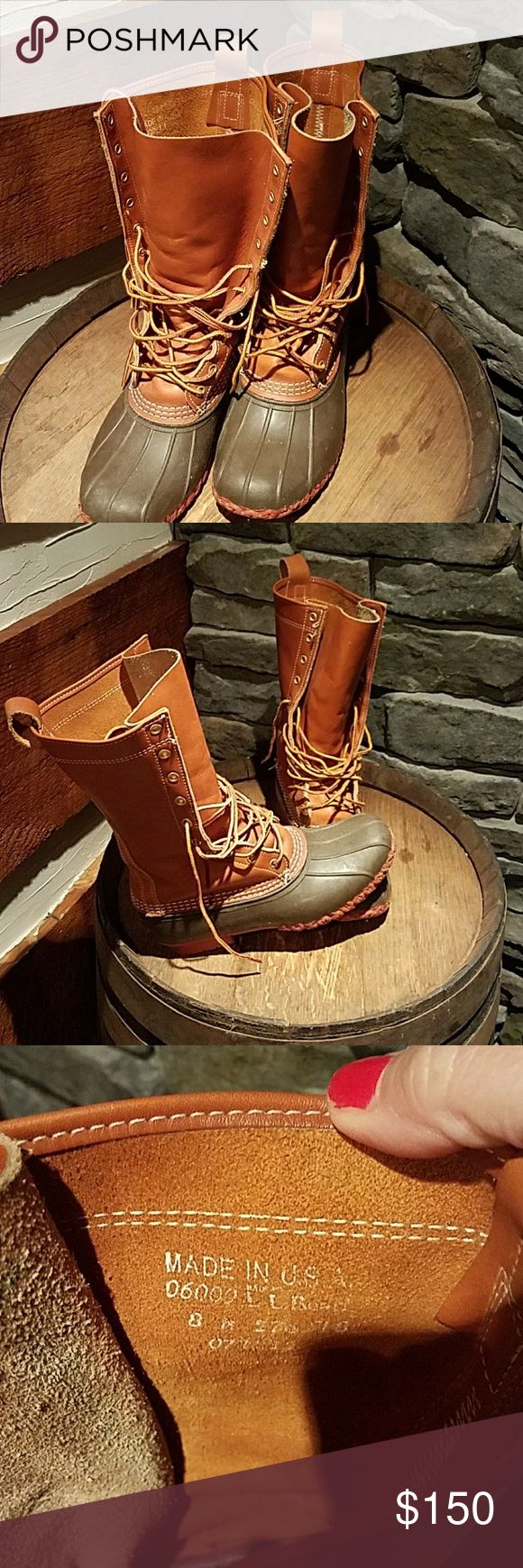 """LL  BEAN BOOTS LL BEAN boots, women's size 8, red bottom, brown rubber, all leather uppers 9"""". Worn twice!! L.L. Bean Shoes Winter & Rain Boots"""