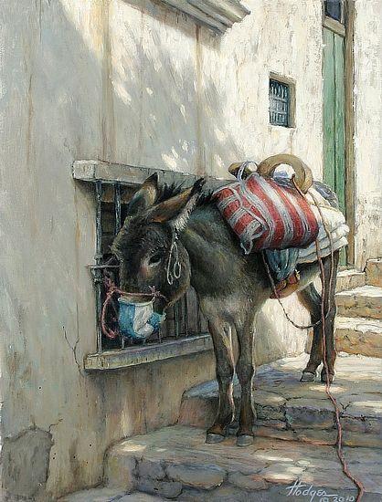 """""""Burro En La Sombra"""" by American artist Annette Hodges (1934)  Acrylic • 16"""" x 12"""" $2650.00"""