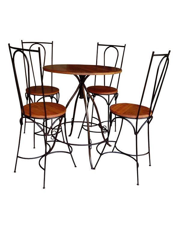Jogo de Mesa Com 04 Cadeiras - Cód 1466 - Porta Papel Higiênico - Madeira e Ferro - Barrocarte