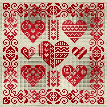 Red monochrome : decorated hearts and a decorative border. Many free cross-stitch patterns