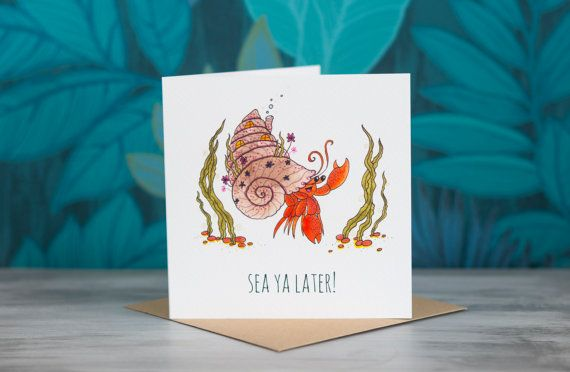 Crab Greeting Card - 'Sea Ya Later!' by PaperVeilStationery now at http://ift.tt/2FXvvsd