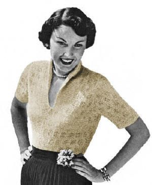 Blouse with V-Neck and Stand-up Roll Collar Vintage Knitting Pattern for download Sz 14-18