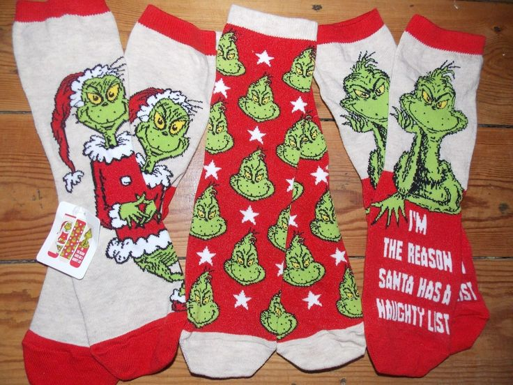 The Grinch Christmas socks Christmas socks, Grinch