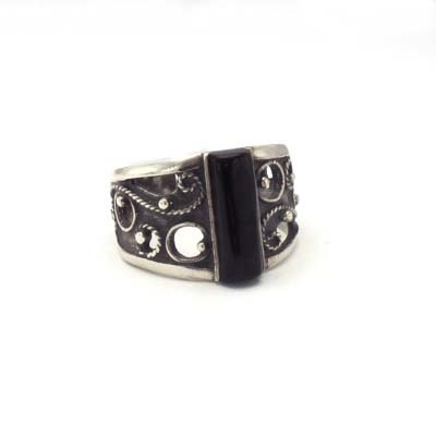 Silver and jet ring. Handmade in Galicia. Artcraft of The Way of Saint James. Tax free $43.90