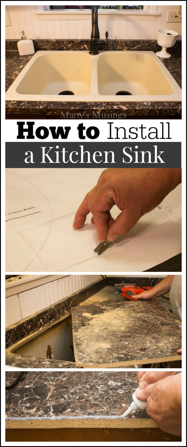 Detailed tutorial from Marty's Musings on how to install a kitchen sink, complete with step by step photos and instructions from a DIY homeowner and blogger.