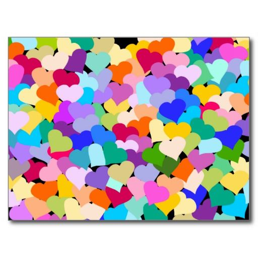 Rainbow Heart Confetti Postcards