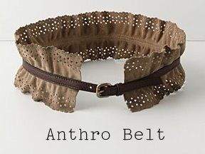 Anthro knock-off belt. Lace trim and skinny belts/belt buckles.