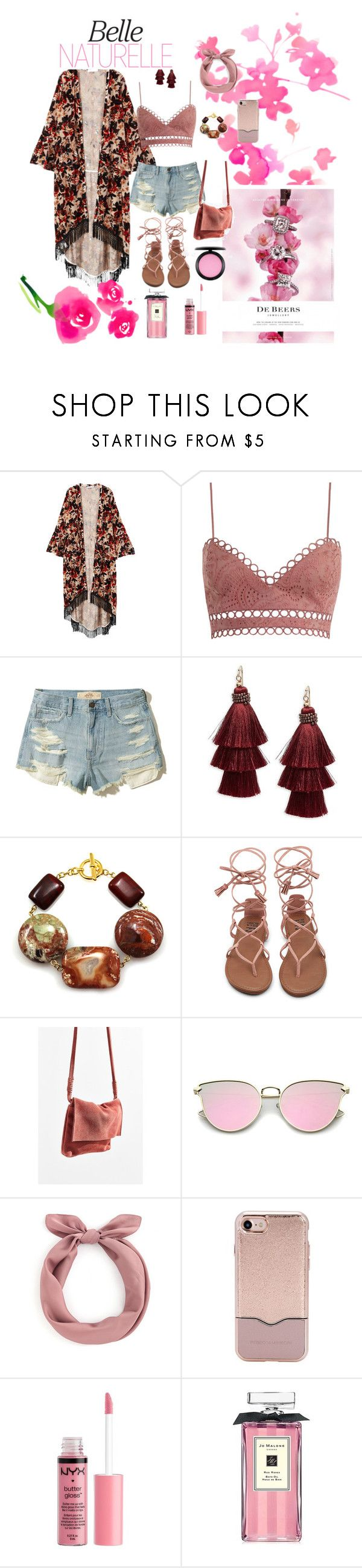"""Pink blossom🌸"" by sarvfashion ❤ liked on Polyvore featuring MANGO, Zimmermann, Hollister Co., Design Lab, De Beers, Urban Outfitters, Rebecca Minkoff, Charlotte Russe, Jo Malone and MAC Cosmetics"