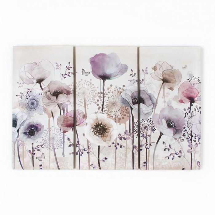 Classic Poppy Trio Floral Canvas - Purple Flower Wall Art by Graham  Brown
