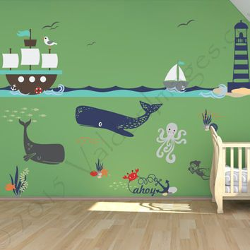 Merveilleux Ship Adventure Nursery Wall Decal, Ocean Wall Decal, Sea Wall Decal,  Nautical Wall