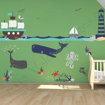 Ship adventure nursery wall decal, ocean wall decal, sea wall decal, nautical wall decal, kids room wall decal, underwater wall decal