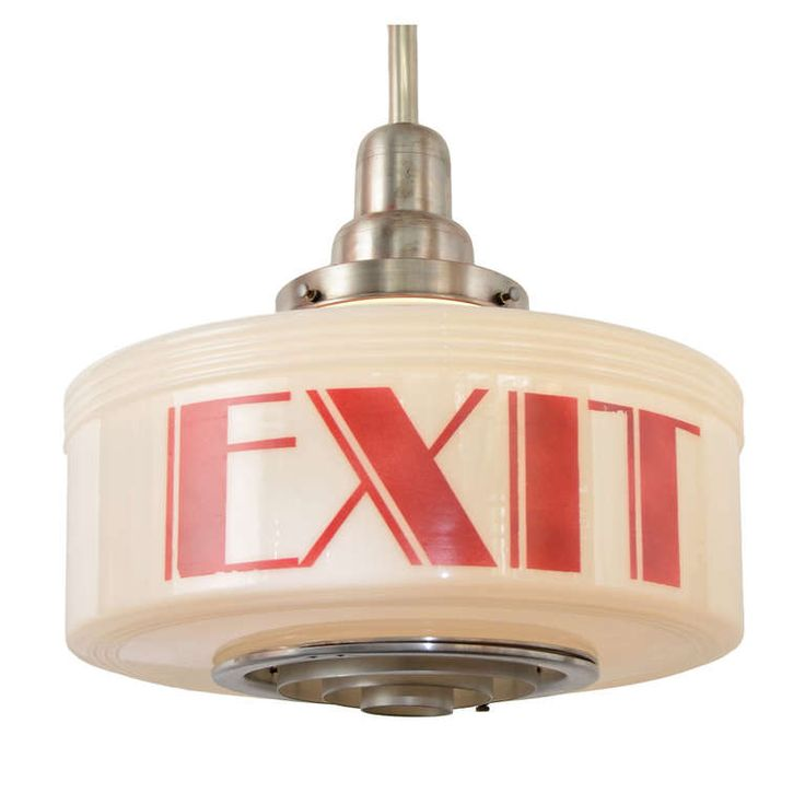 American Art Deco Exit Pendant, circa 1935 | From a unique collection of antique and modern chandeliers and pendants  at http://www.1stdibs.com/furniture/lighting/chandeliers-pendant-lights/