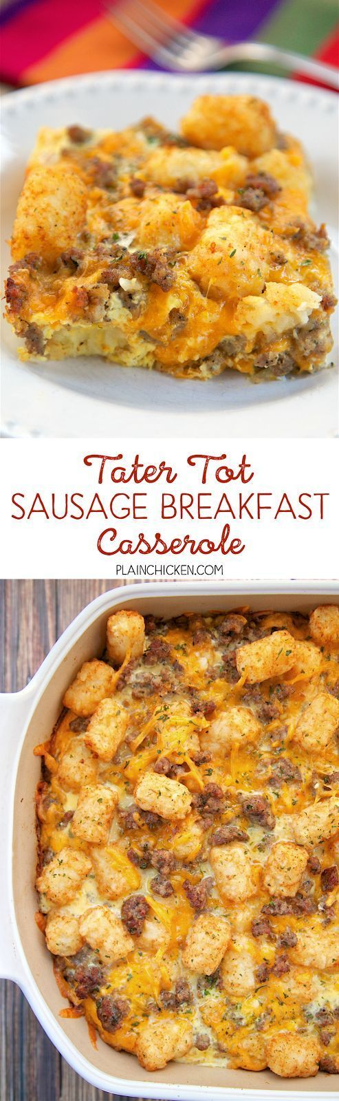 Tater Tot Sausage Breakfast Casserole - great make ahead recipe!  Sausage cheddar cheese tater tots eggs milk garlic onion and black pepper. Can refrigerate or freeze for later. Great for breakfast. lunch or dinner. Everyone loves this easy breakfast casserole!!