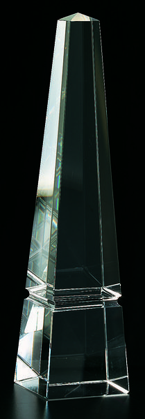 This crystal obelisk is an elegant accent to any room. Unlike anything else, it makes a unique design statement.