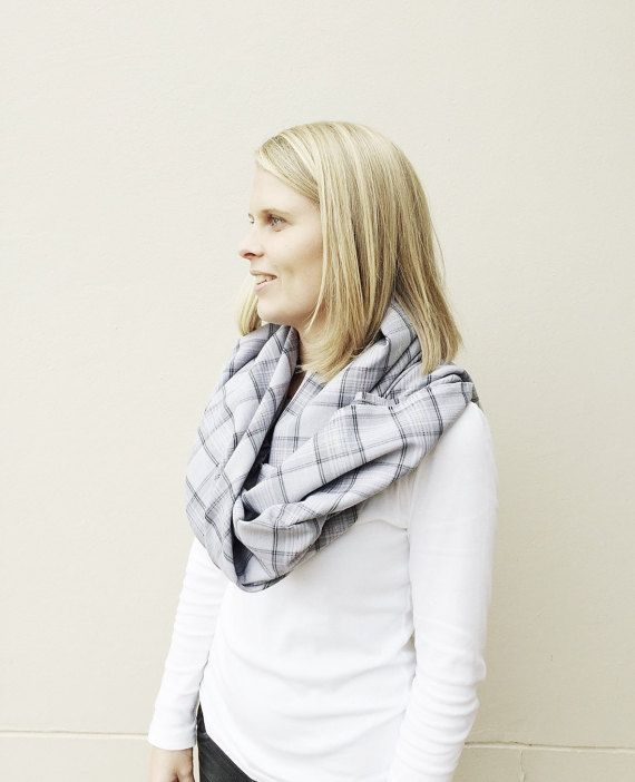 Plaid Blanket Scarf Grey Oversized Scarf Flannel by VeraJayne