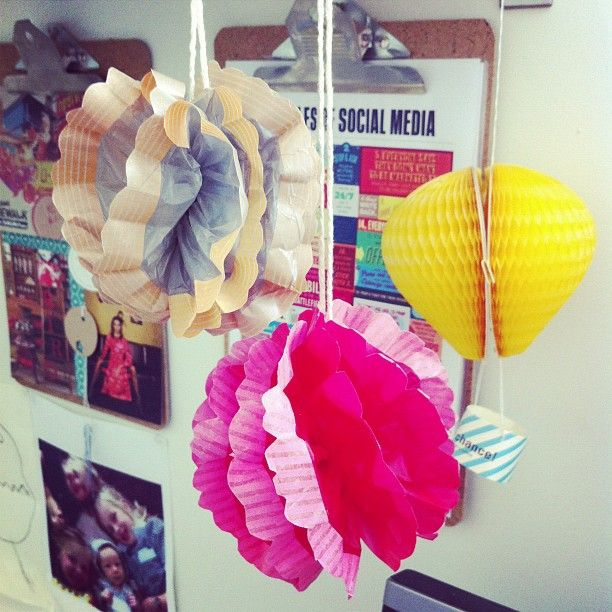 """Love this! Anna Spurling of La Madre bakery has made the DIY @hellosandwich pompoms from our new issue. They look great!"" Photo by Anna Spurling."