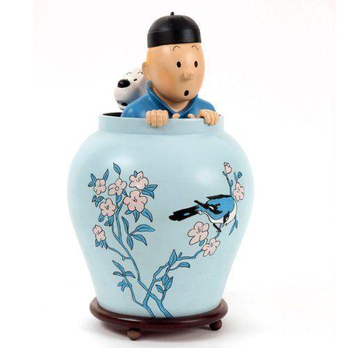 Tim und Struppi Figuren,Tintin et Milou - Tim & Struppi: Kunstharz Statue Tim in der Vase Handbemalt mit Zertifikat in Geschenkbox