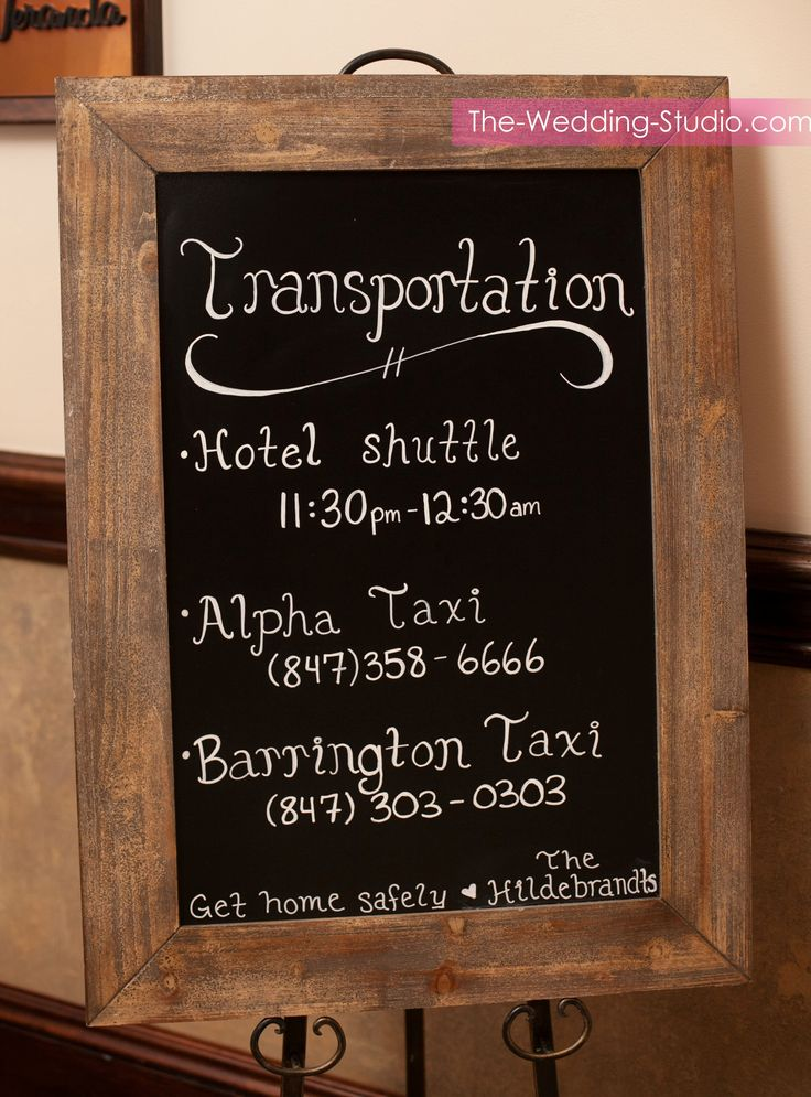 A Transportation sign to help your wedding guests get home safely at Makray Memorial Golf Club. Photographed by The Wedding Studio, Schaumburg IL