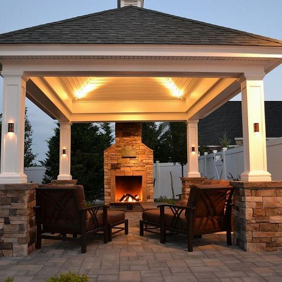Best 25 backyard pavilion ideas on pinterest outdoor for Plans for gazebo with fireplace