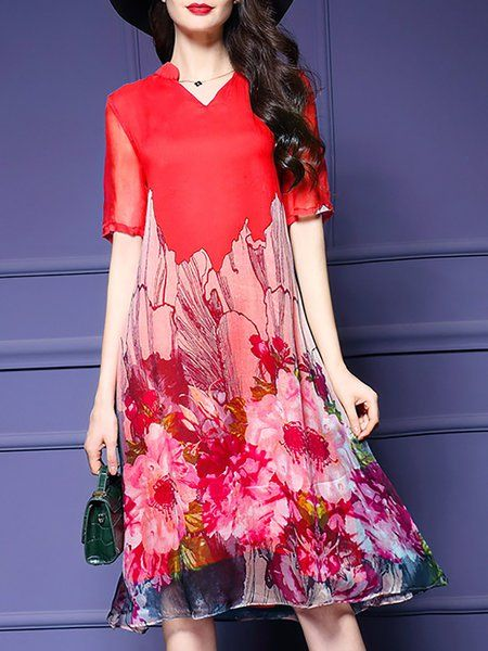 94766f23b3 Online Shopping Stylewe Plus Size V neck Shift Dress Short Sleeve Vintage  Printed Floral Dress