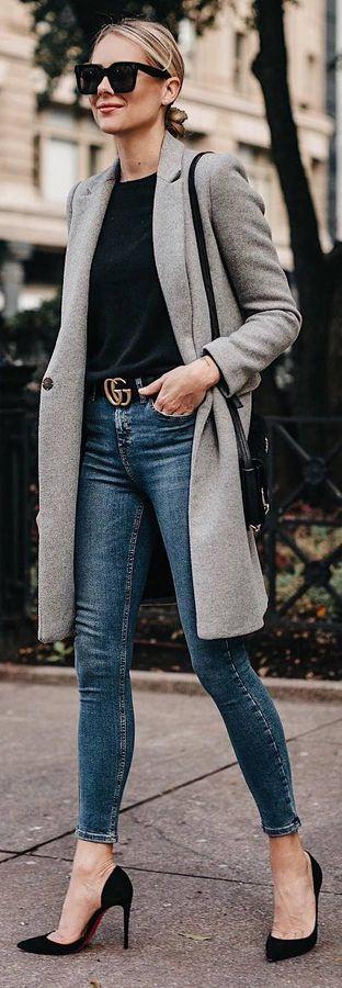 grey long jacket, black shirt, skinny jeans, heels