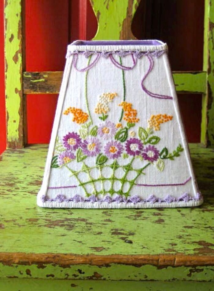 What to do with my Grandmother's Needlework! A vintage dresser scarf would look pretty on a bedside lampshade.